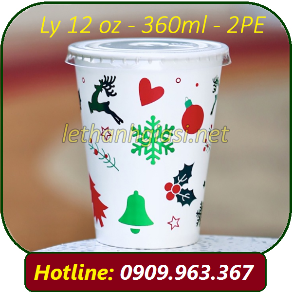 LY GIẤY 12 OZ - 360ML- IN SẴN NOEL