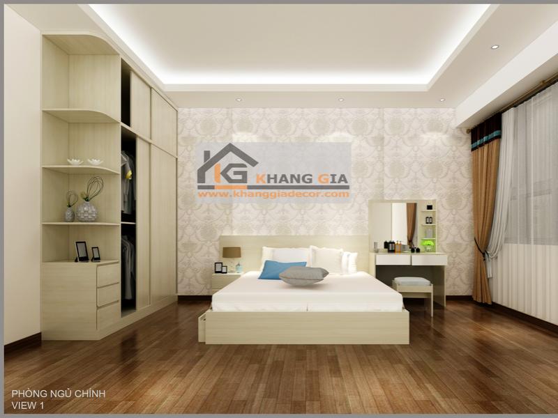 Giường ngủ gỗ công nghiệp mdf melamine sang trọng - Khang Gia Decor