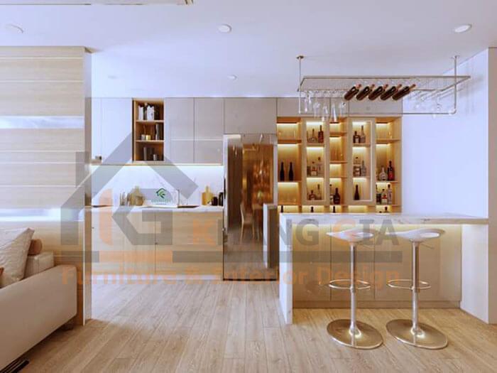 Quầy bar bếp đơn giản QB15 - Khang Gia
