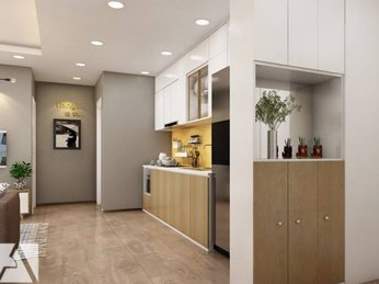 Mẫu thiết kế nội thất căn hộ chung cư Sky Center 2 phòng ngủ