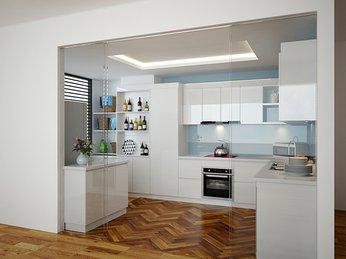 Tủ bếp gỗ công nghiệp MDF melamine dành cho căn hộ