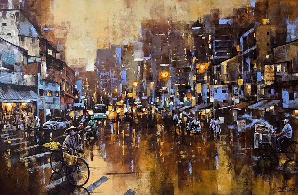 04. Nguyễn Minh Tâm, Mưa qua phố (Rainy street), oil on canvas, 80x 120cm. 2020. Price 20.000.000 VND