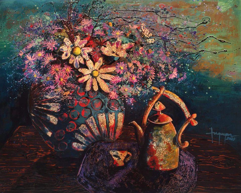 06. Tú Quyên, Hoa dại và bình trà (Wildflowers and tea pot), Lacquer, 40 x 50cm. 2020. Price 9.000.000 VND
