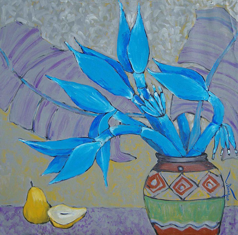 07 Hoàng Trung Dũng. Coban (Cobalt), Oil on canvas, 80cm x 80cm, 2020. Price 20.000.000 VND