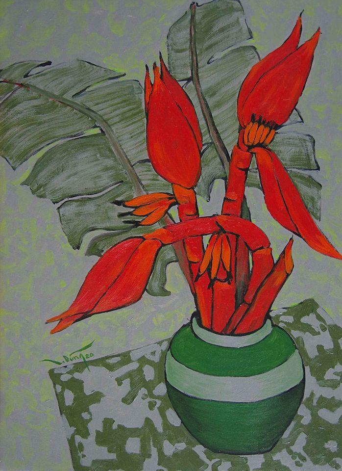 10. Hoàng Trung Dũng. Sắc Đỏ (Red Hue), oil on canvas, 50cm x 70cm, 2020. Price 20.000.000 VND