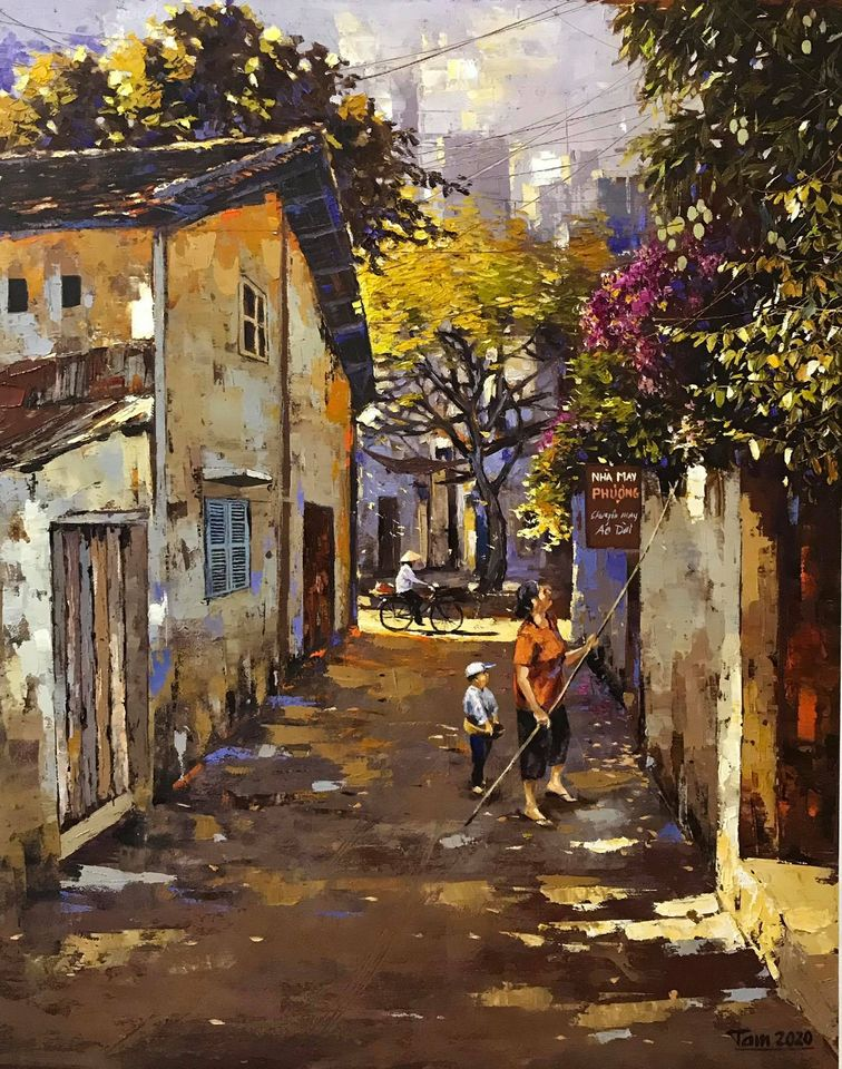 14. Nguyễn Minh Tâm, Ngõ nắng (Sunny lane), oil on canvas, 70x 90cm. 2020. Price 25.000.000 VND
