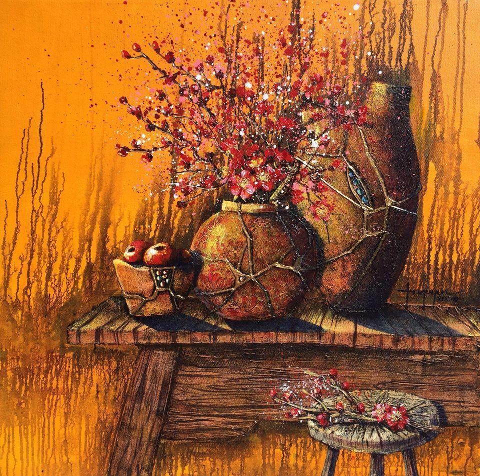 18. Tú Quyên, Những chiếc bình gốm vỡ (Broken ceramic vases), Acrylic on canvas,100 x 100cm. 2020. price 14.000.000 VND