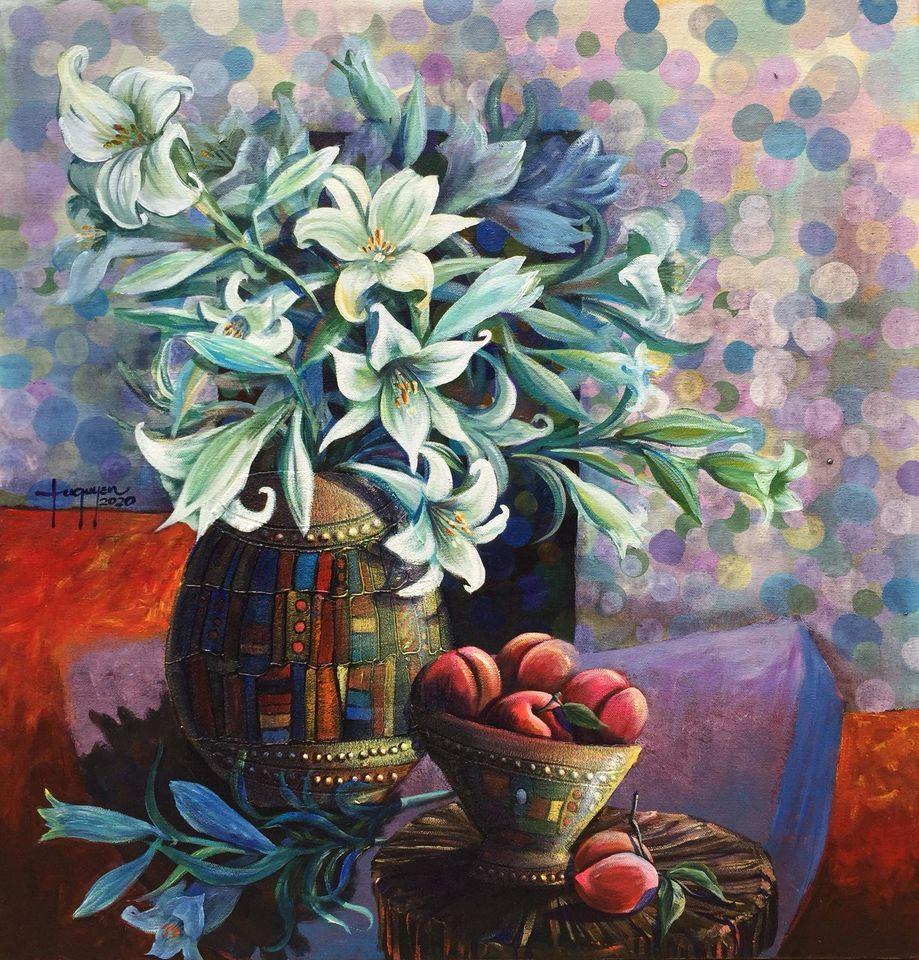 01. Tú Quyên, Mùa hoa loa kèn (Lilies season), Acrylic on canvas,115 x 120cm. 2020. price 15.000.000 VND