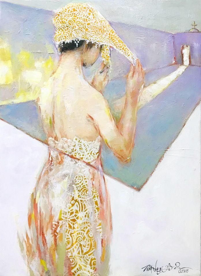 30. Trần Ngọc Bảy, Chiều giáo đường (Afternoon church), acrylic on canvas, 110x 180cm. 2020. Price 18.000.000 VND