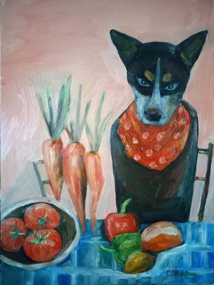 31. MY VAN. _Ăn kiêng_ (Diet), Oil on Canvas, 60x80. 2019. Price 5.000.000 VND