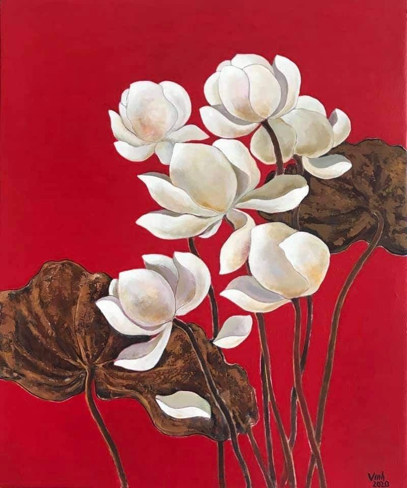 Trần Quốc Vinh - Bạch Liên, Acrylic trên toan, 50x60cm, 2020, Giá bán 9triệu