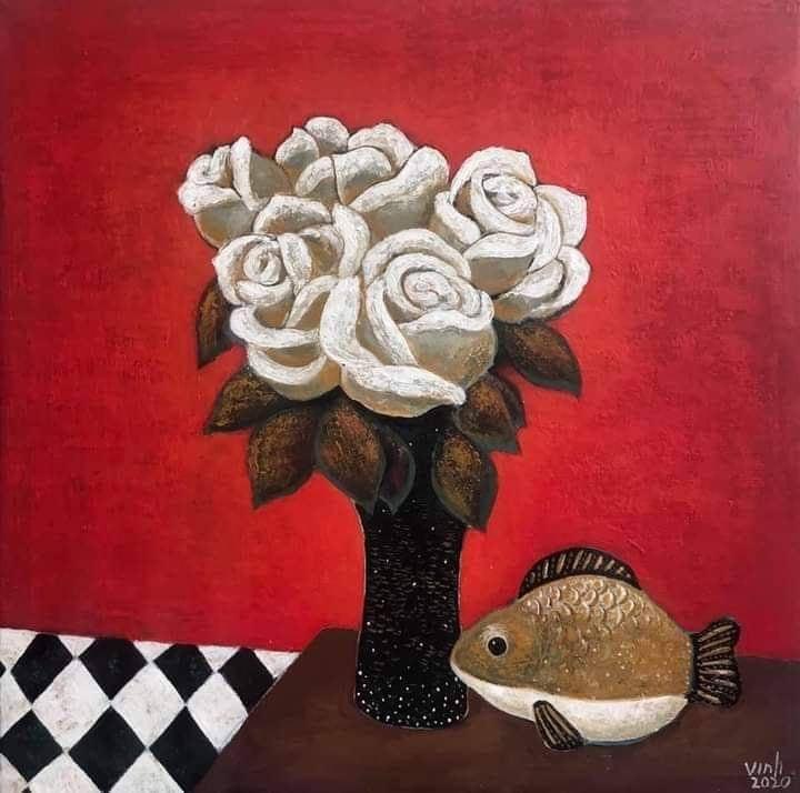 Trần Quốc Vinh-Tĩnh Vật với cá gốm, Acrylic trên toan, 50x50 cm, 2020, giá bán 8 triệu