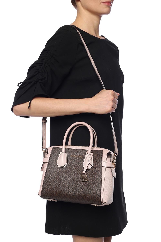Túi xách Michael Kors hàng hiệu cao cấp Mercer Belted Small Satchel Leather Brown Soft Pink Bag,  túi xách Michael Kors cao cấp đeo chéo, túi xách MK chính hãng đeo chéo màu nâu hồng dạo phố, giỏ xách MK chính hãng công sở, giỏ xách MK hàng hiệu