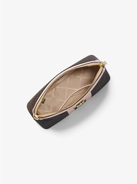 Túi xách Michael Kors hến đeo chéo Large Brown Logo Stripe Dome Crossbody Bag, túi xách MK hàng hiệu đeo chéo màu nâu logo giành cho nữ, túi xách Michael Kors authentic chính hãng đeo chéo dạo phố, túi xách MK dự tiệc màu nâu logo nữ tính