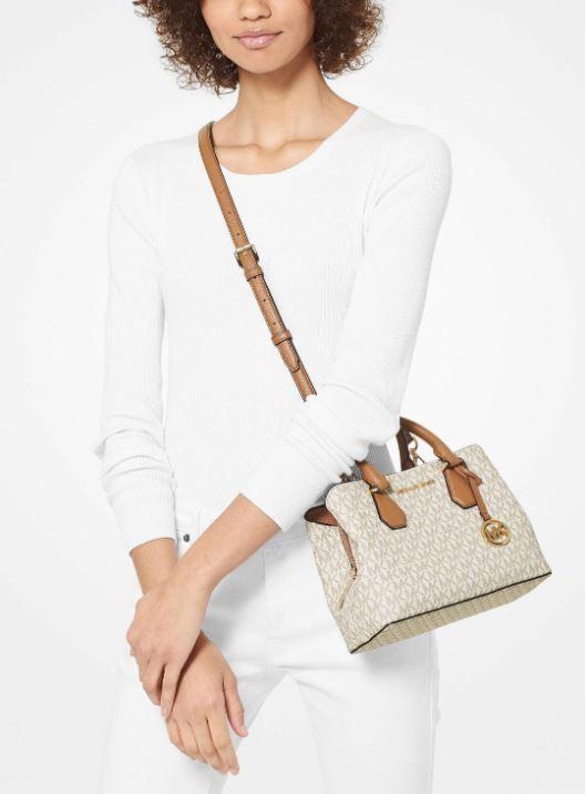 Túi xách Michael Kors Camille Small Vanilla Logo and Leather Satchel, túi xách michael kors hàng hiệu nữ dạo phố, túi xách MK giành cho nữ công sở, giỏ xách MK đeo vai hàng hiệu chính hãng màu trắng vanilla, giỏ xách MK xách tay chính hãng authentic 100%