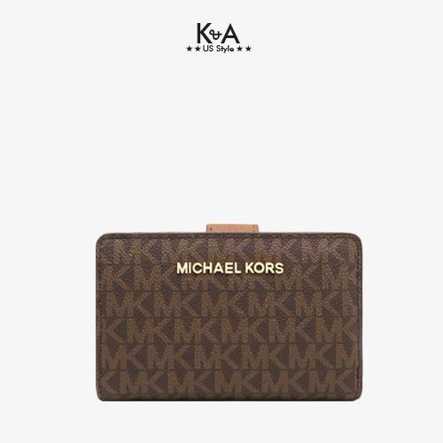 Ví cầm tay Michael Kors mini gấp jet set brown wallet, ví Michael Kors hàng hiệu chính hãng, bóp MK cầm tay màu nâu, bóp MK authentic chính hãng giành cho nữ, bóp Michael Kors cầm tay hàng hiệu