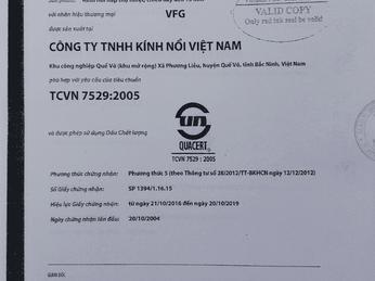 Chứng nhận kỹ thuật Công ty TNHH Kính Nổi Việt Nam