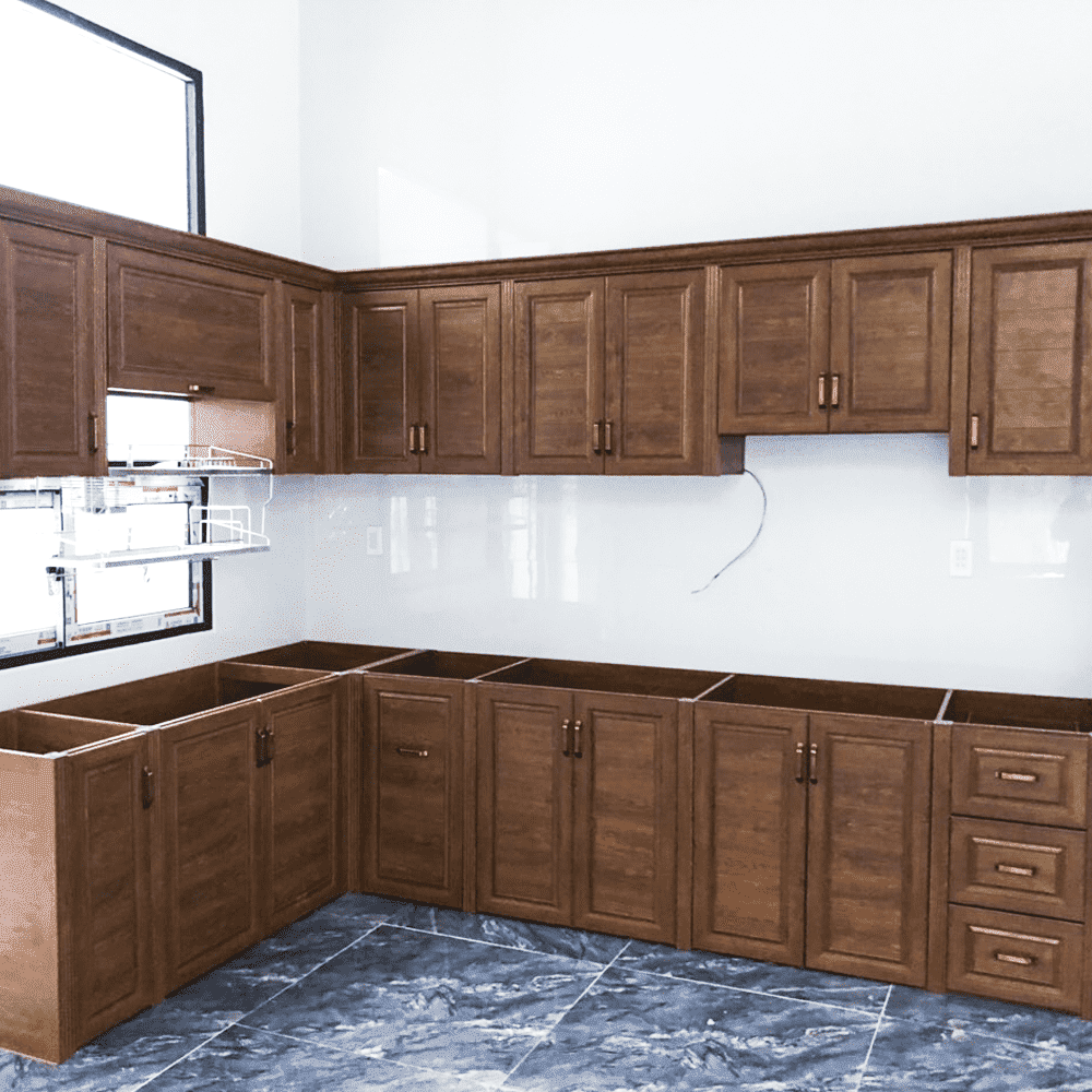 Báo giá và mẫu tủ bếp nhôm sơn tĩnh điện giả gỗ đẹp mới nhất 2020 – Ưu đãi đến 10%