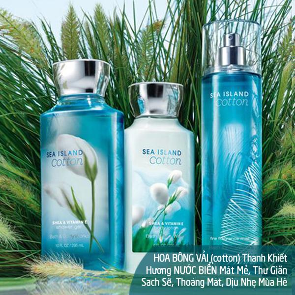 Bộ sữa tắm dưỡng thể xịt thơm lưu hương Sea Island Cotton - Bath and Body Works