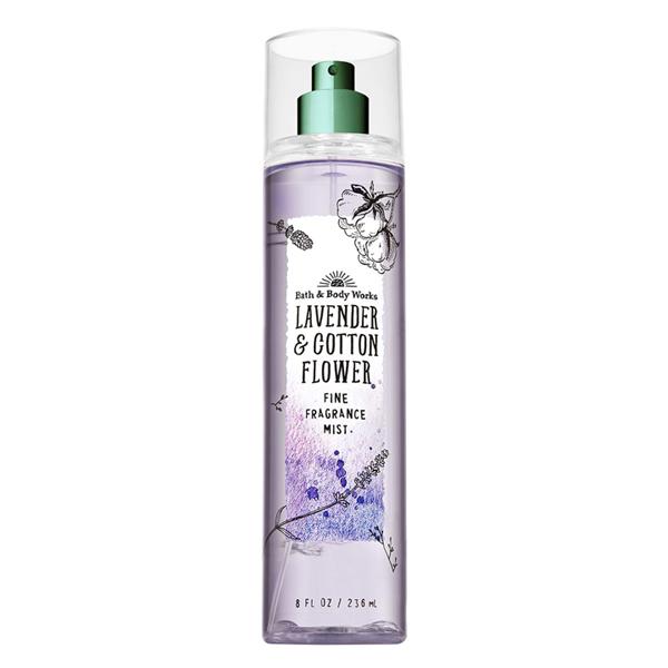 Xịt thơm body dưỡng ẩm Oải hương Lavender Cotton Flower - Bath and Body Works 236ml