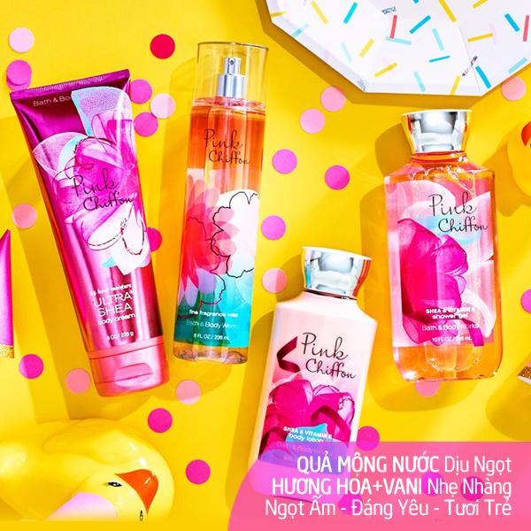 Bộ sữa tắm dưỡng thể xịt thơm lưu hương Pink Chiffon - Bath and Body Works