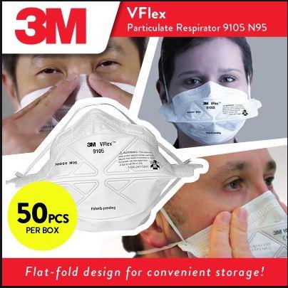 Khẩu trang 3M VFlex 9105 chuẩn N95 (hộp 50 cái)