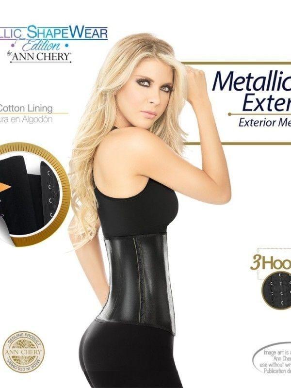 Gen Nịt Bụng Latex ANN CHERY METALLIC BLACK 2045 - 3 Mắc Cài