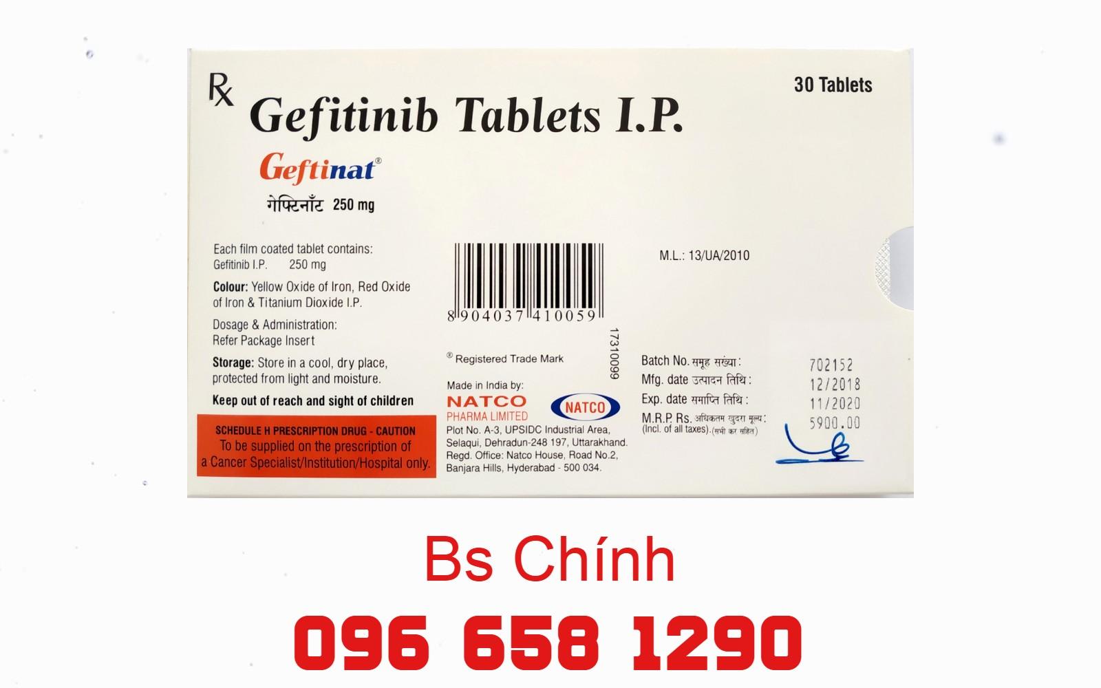 Thuốc Geftinat (Geftifinib) 250mg điều trị ung thư phổi