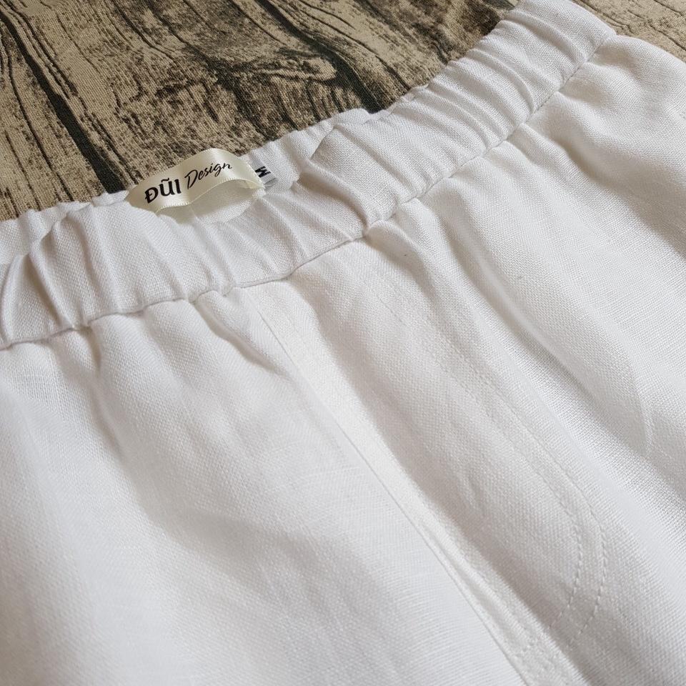 Quần đũi nam dài cạp chun ống côn trắng
