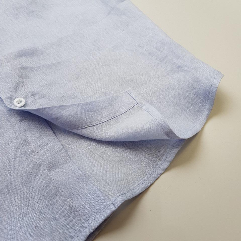Áo đũi nam cài khuy cổ bẻ tay lỡ xanh