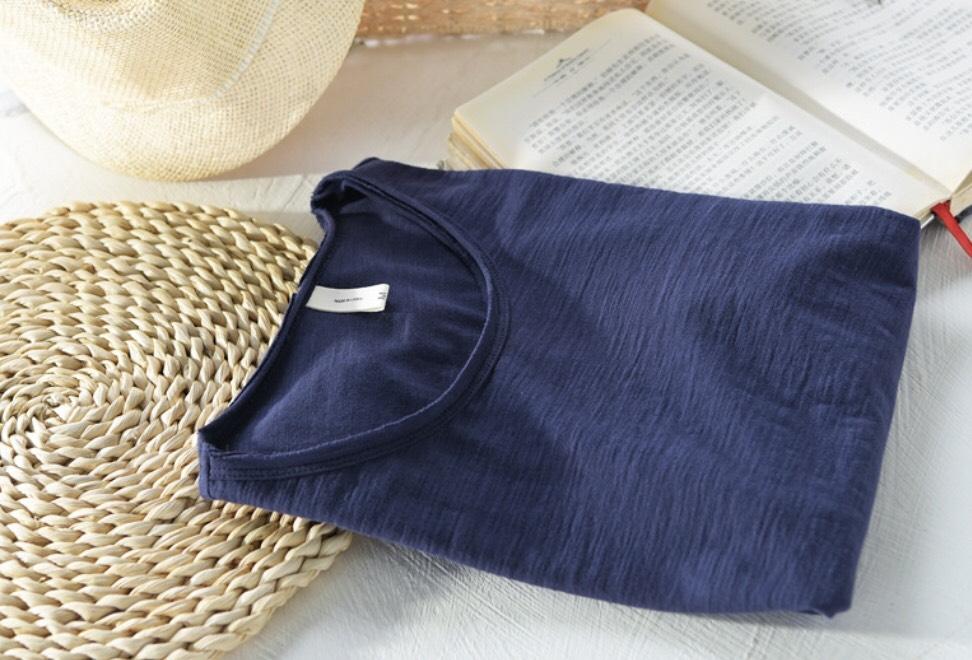 Áo thun nam cotton thô xanh đen