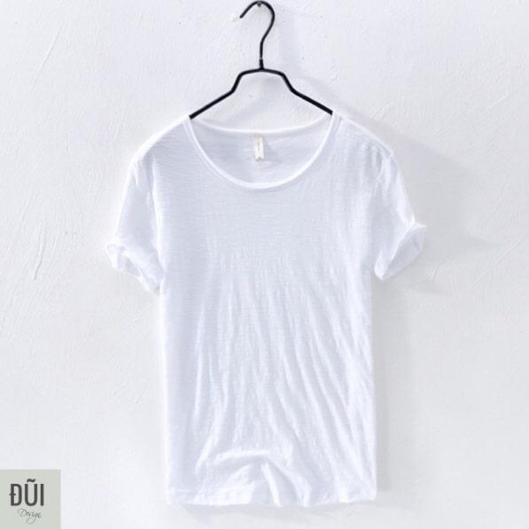 Áo thun nam cotton thô trắng