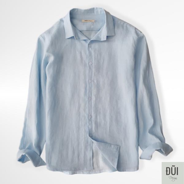 Áo đũi nam cài khuy cổ bẻ dài tay xanh M8