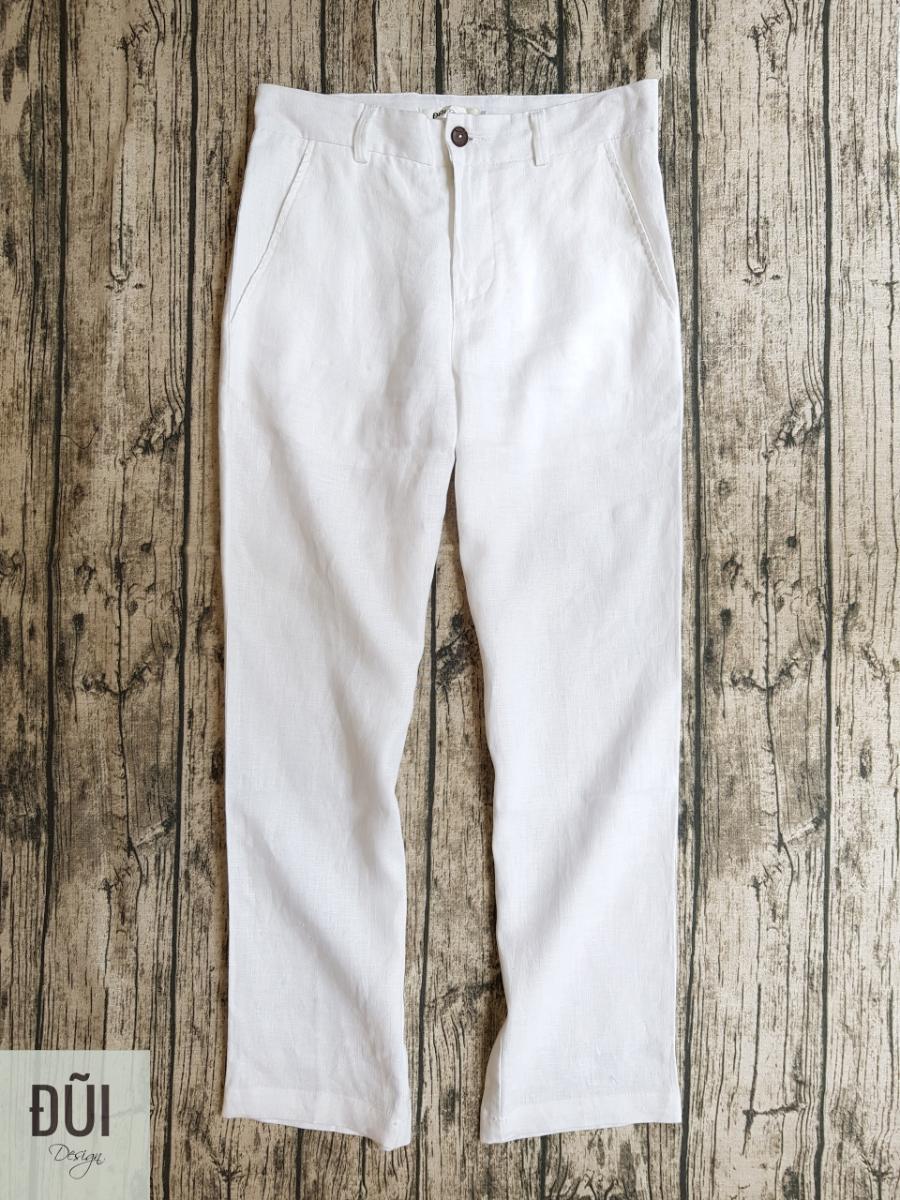 Quần đũi nam dài cạp liền ống côn trắng