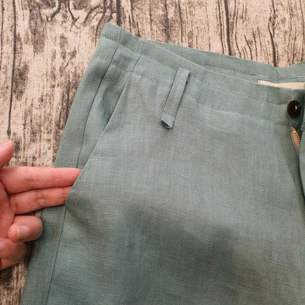 Quần đũi nam dài cạp liền ống suông xanh ngọc