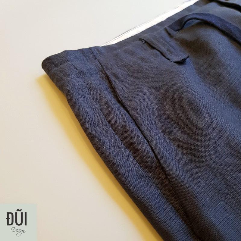 Quần đũi nam dài ống côn cạp liền xanh đen