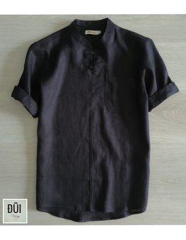 Áo đũi nam chui đầu cộc tay đen M13