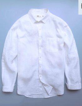 Áo đũi nam cài khuy cổ bẻ dài tay trắng M8