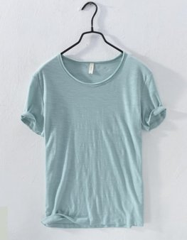 Áo thun nam cotton thô xanh bạc hà
