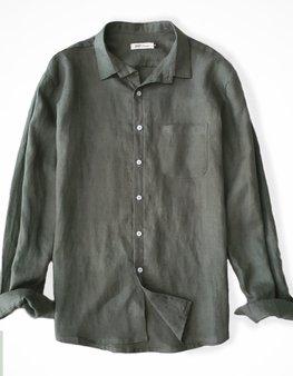 Áo đũi nam cài khuy cổ bẻ dài tay xanh rêu  M8