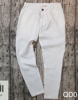 Quần đũi nam dài cạp chun ống suông trắng