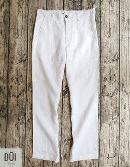 Quần đũi nam dài cạp liền ống suông trắng