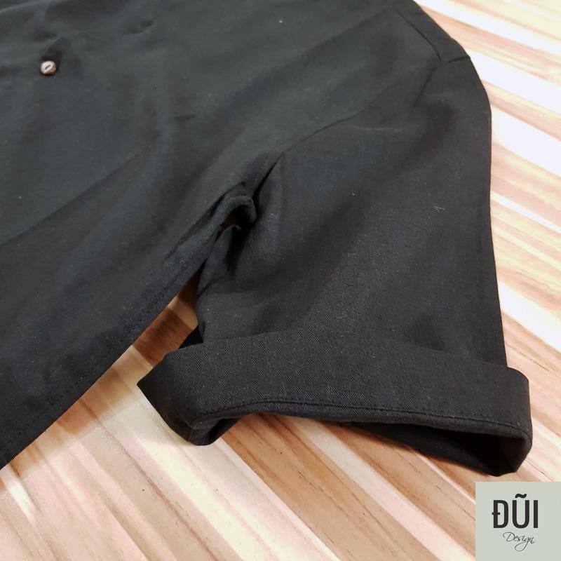 Áo đũi nam cổ tàu nẹp ngắn cộc tay đen