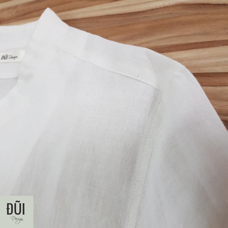 Áo đũi nam cổ tàu nẹp ngắn cộc tay trắng