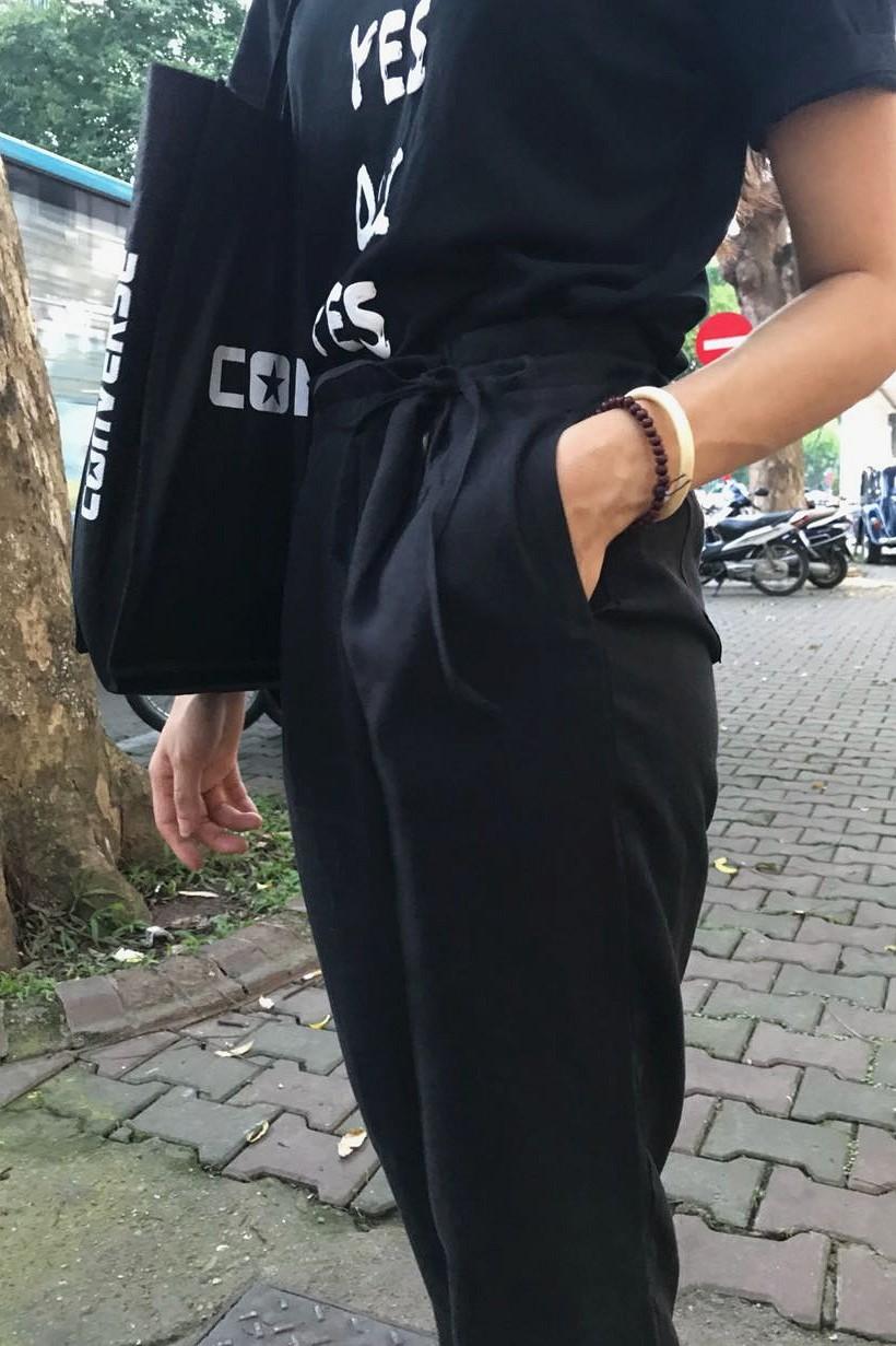 Quần đũi nữ baggy đen