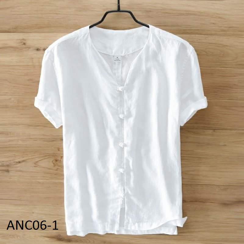 Áo đũi nam chui cúc tết trắng M6