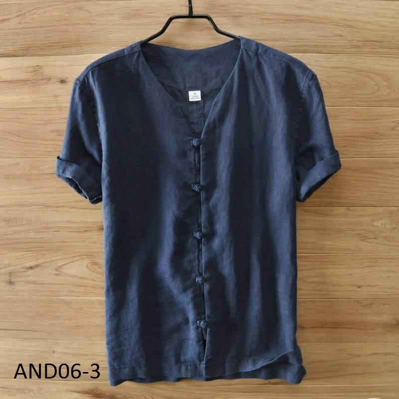Áo đũi nam chui cúc tết xanh đen M6