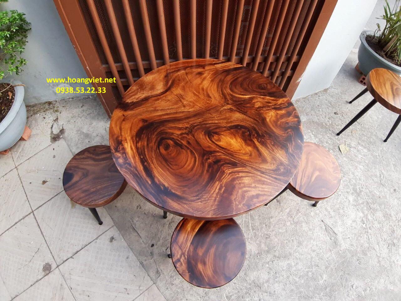 Bàn trà gỗ nguyên khối đường kính 60cm dày 5cm