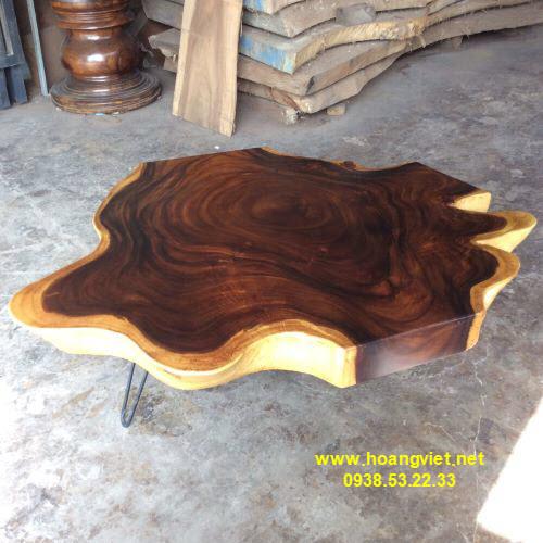 Bàn trà gỗ tự nhiên đường kính 110-130cm dày 12cm