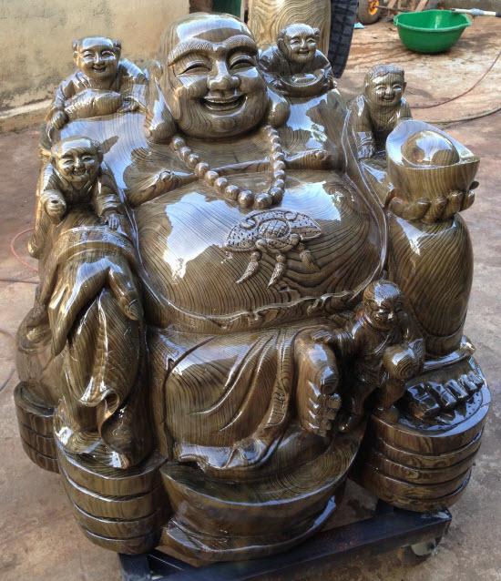 Bán tượng gỗ di lặc thủy tùng ngồi tiền